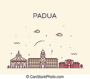 Padua skyline Italy vector linear style city - Padua...