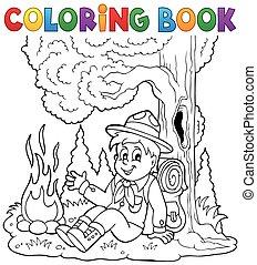 padvinder, kleuren, 1, thema, boek