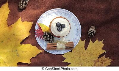 pa???e?, park, jonge, cupcake, herfst, meisje
