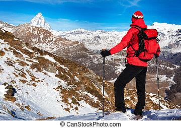 pa???e?, rusten, bewonderen, wandelaar, peak., matterhorn
