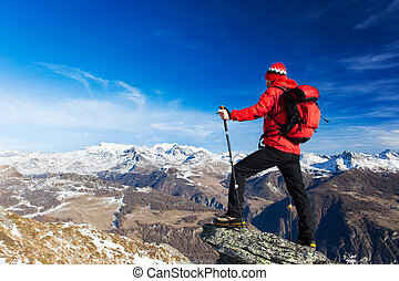 pa???e?, wandelaar, landschap., berg, rosa, massif, italië, europe., bewonderen, valle, rusten, monte, d'aosta