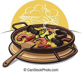 paella, espagnol