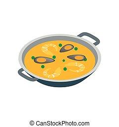 Paella icon, isometric 3d style