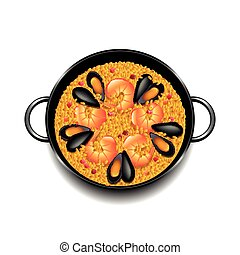 Paella isolated on white vector