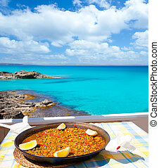 paella, mediterráneo, arroz, alimento, en, islas balearas
