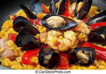 Seafood Spanish Paella, traditional recipe
