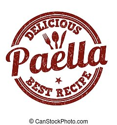 Paella grunge rubber stamp on white background, vector illustration