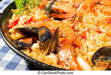 Paella Valenciana - Valencian paella delicious seafood rice...