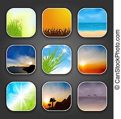 paesaggi, app, naturale, icone