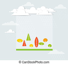 paesaggio, albero, pioggia