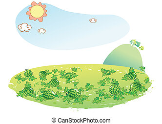 paesaggio, anguria, giardino