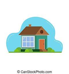 paesaggio., appartamento, disegno, illustration., house., architettura, suburbano, vettore, astratto