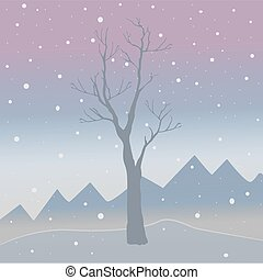 paesaggio., bacche, naturale, inverno, montagne, stagione, nature., nevoso, albero, dall'aspetto, pochi, vettore, fondo, scuro, freddo, sky., uccelli, rosso, illustration.