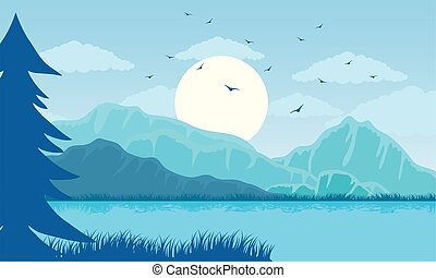 paesaggio, bello, lago, colorare, scena, blu