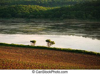paesaggio, campo, agricolo, rurale, banca fiume