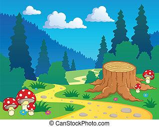 paesaggio, cartone animato, 7, foresta