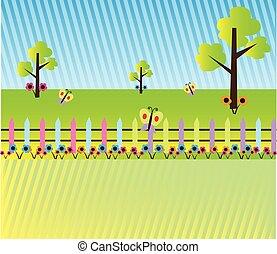 paesaggio, cartone animato, fondo, natura
