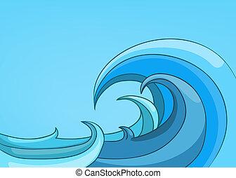 paesaggio, cartone animato, mare, natura