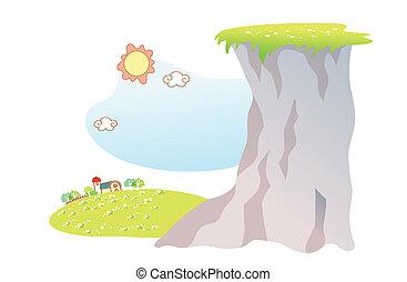 paesaggio, cartone animato