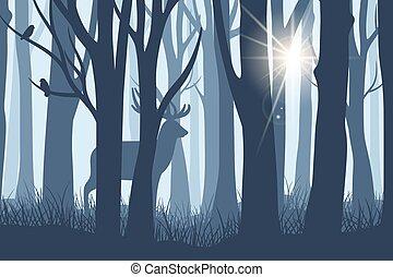 paesaggio, cervo, foresta