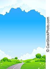 paesaggio, -, collina verde, con, albero, strada, e,...