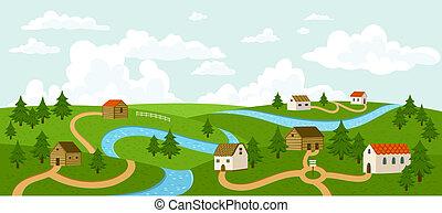 paesaggio, con, albero, case, strade, e, fiume, vettore,...