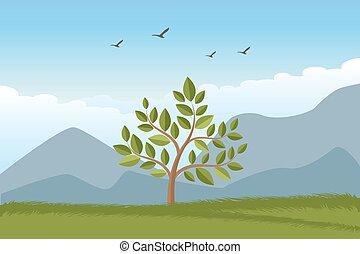 paesaggio, con, albero, erba, montagne, e, nubi