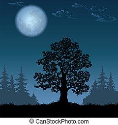 paesaggio, con, albero quercia, e, luna