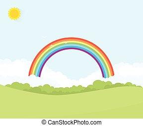 paesaggio, con, arcobaleno