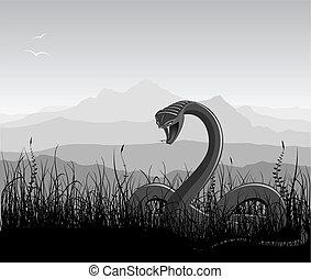 paesaggio, con, arrabbiato, serpente, erba, e, montagne.