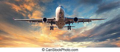 paesaggio, con, bianco, passeggero, aeroplano