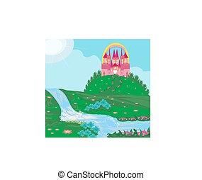 paesaggio, con, fairytale, castello
