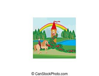 paesaggio, con, fairytale, torre, e, principe, su, uno, cavallo