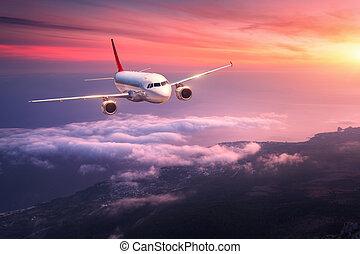 paesaggio, con, grande, bianco, aeroplano, è, volare, rosso, cielo