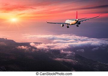 paesaggio, con, grande, bianco, passeggero, aeroplano, è, volare