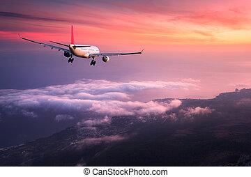 paesaggio, con, grande, bianco, passeggero, aeroplano