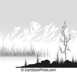paesaggio, con, montagne, appresso, lago