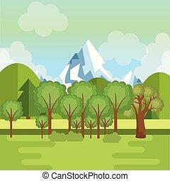 paesaggio, con, montagne, scena