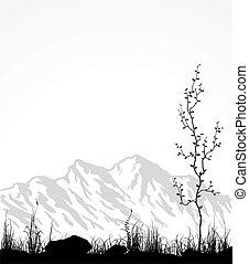 paesaggio, con, montagne, vetro, e, albero.