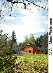 paesaggio, con, rosso, casa