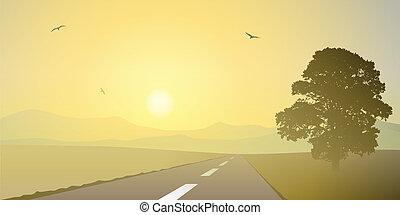 paesaggio, con, strada
