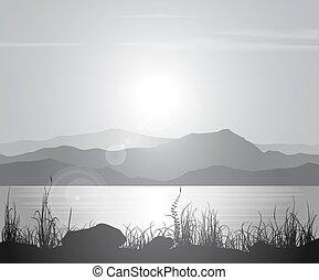paesaggio, con, tramonto mare