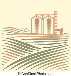 paesaggio, con, uno, elevatore grano