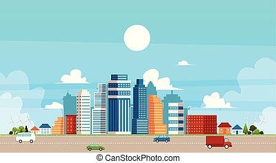 paesaggio, costruzioni, traffico, suburbano, urbano, illustration., appartamento, vettore