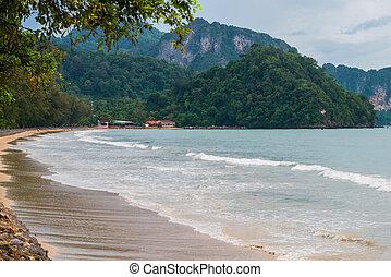 paesaggio, di, uno, spiaggia tropicale, davanti, uno, tempesta, cielo, nubi