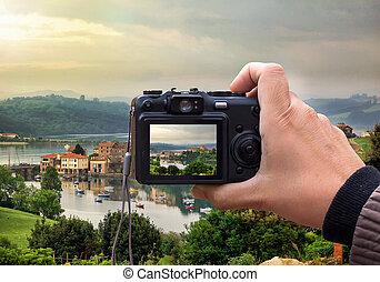 paesaggio, digitale, schermo, macchina fotografica, retro, lcd