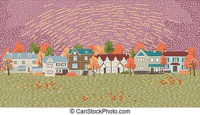 paesaggio, disegnato, stile, vettore, illustrazione, suburbs., appartamento, vista, cartone animato, autunno, tuo, villaggio, fondo, design.