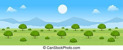 paesaggio, estate, cartone animato