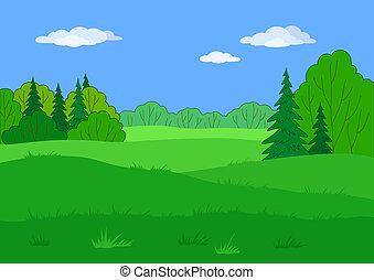 paesaggio, estate, foresta, radura