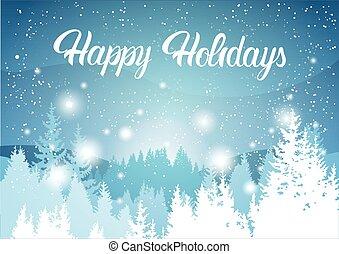 paesaggio, felice, legnhe, vacanze, fondo, alberi pino, inverno, foresta, neve, montagna